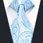 A38 Floral Mens Neckties Ties Extra Long Size Azure Blue Fashion Paisley Silk