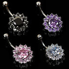 Steel Zircon Crystal Flower Navel Belly Ring Button Bar Body Piercing Jewelry