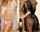 Sexy Babydoll Sheer Nightie Lingerie Bride Wedding Robe + Belt + G-string S M L