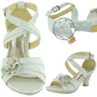 Girls High Heel Pageant Dress Sandals w/ Ankle Strap Rhinestone Silver Size 10-5
