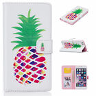 Pineapple Printed Flip Magnetic Leather PU Cards Stand Case Cover For CelePhones