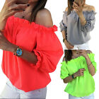 Womens One Off Shoulder Casual Frill Tops Loose Blouse Ladies T Shirt 6-12