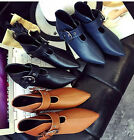 Sexy Womens pointed toe buckle punk flat boots casual shoes Q576