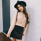 Fashion Sexy Women Lady V Neck Long Sleeve Casual Bloose Solid Knitted Sweaters