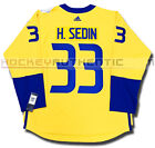 HENRIK SEDIN TEAM SWEDEN NEW PREMIER JERSEY ADIDAS 2016 WORLD CUP OF HOCKEY