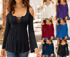 Sexy Womens Ladies Long Sleeve Off Shoulder Lace Up T-Shirt Casual Tops Blouse