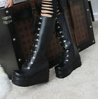 Women Lace Up Side Zipper Wedge Platform Punk Gothic Rock Mid Calf Boots35-39