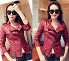 Fashion Women's jackets short Slim Motorcycle leather jacket coat outwear