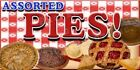 Concession Banner ASSORTED PIES  - SIX SIZES TO CHOOSE FROM - MADE IN USA