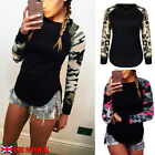 Womens Camouflage Long Sleeve crew neck Blouse Shirt 2016 Autumn Top T-Shirt