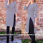 2016 Womens 3/4 Sleeve Striped Bodycon Evening Party Cocktail Long Maxi Dress
