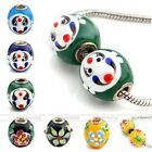 1pc Lampwork Glass Drum Face Flower European Bead Fit Snake Charms Bracelet DIY