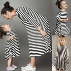 Fanmily Baby Girl Women's Black White Striped Long Sleeve Dress Tee Shirt S M L