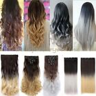UK Ombre Dip Dye 8 Pcs Full Head Clip in on As Human Hair Extensions Synthetic