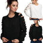Summer Womens Loose Casual Long Sleeve Lace Shirts Blouse Ladies Tee Tops New
