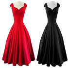 Women Vintage 1950s 60s Rockabilly Swing Dress Hepburn Style Pinup Dresses New
