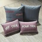 DEXTER SLOGAN FILLED CUSHION BOUDOIR BED SCATTER CUSHION LILAC PURPLE GREY
