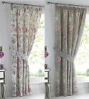 "JADE VINTAGE FLORAL BIRD TAPE TOP CURTAINS THERMAL BLOCK OUT CURTAINS 66"" x 72"""