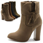 Ollio Women's Shoes Faux Suede Back Zip Up Stacked High Heels Ankle Boots