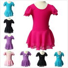 Girls Cotton Leotard Gymnastic Ballet Dress Chiffon Skirt Skate Dancewear 3-13Y