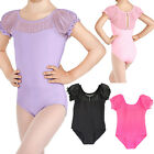 Kids Girls Flower Lace Gymnastic Ballet Leotards Bodysuit Dancing Costume 3-12Y
