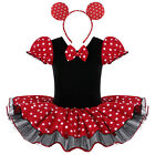 Girls Polka Dot Minnie Cotton Ballet Dress Bow Two Piece Short Sleeve