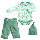 "Baby Soy Neutral 3 Piece Ivory/Turquoise Alphabet ""G"" Printed  Bodysuit, Pant"