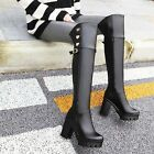New Womens Buckle Strap Metal Decor Block High Heels Over The Knee Knight Boots