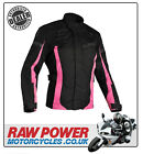 Richa LADIES Biarritz Motorcycle Motorbike Jacket - Black/Pink