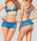 Sexy Lingerie Babydoll Blue Camisoles Bra Top Mini Dress Skirt Chemise Satin Bow