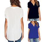 Plus Size M-4XL Women Summer V Neck Tops T-shirt Casual Soft Loose Blouse Tee