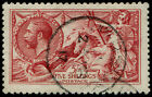 5/- SG 409(2) 'CARMINE' VFU, 'Jersey.1917' CDS, clear King's head and fab colou