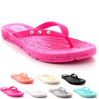 Womens Sandals Beach Toe Post Summer Wedge Heel Diamante Jelly Flip Flops UK 3-9