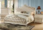 NEW ARABELLA II TRADITIONAL PEARL WHITE WOOD TUFTED ROSE GOLD QUEEN KING BED