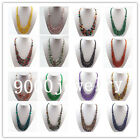4-12mm Mixed Stone Round Beads Three Layers Gradual Necklace 17.5inch X20258