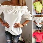 NEW Womens Casual Lotus Leaf Collar Tops Blouse 3/4 Sleeve Summer Top Shirt H