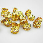 NEW for jewelry 100pcs Size 8MM Plated gold crystal spacer beads Orange colors