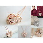 "25"" Fashion Hollow Heart Leaf Crystal Pendant Long Family&Friends Necklace Chain"