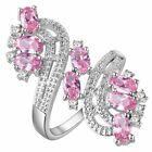 8ct 925 Silver Oval Pink Sapphire 18k White Gold GF Women Engagement Bridal Ring