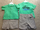 NEW CALVIN KLEIN Shorts & Polo SHIRT OUTFIT 12m  18m Motorcycle Theme NWT $44+RV