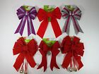 Christmas Bow Decoration Red Velvet Glitter Bells