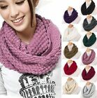 Women Winter Warm Nice Infinity 2 Circle Cable Knit Cowl Neck Long Scarf Shawl
