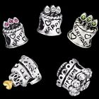European Silver charms Birthday Cake Beads For 925 Sterling silver bracelets CA
