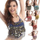 Women Belly Dance Costume Indian Dancing Dress Clothes Top Bra with Gold Coins
