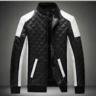 New Men's casual motorcycle jackets Collar stitching leather coat with Plus Size