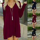Womens Jumper Dress Long Sleeves Top Blouse Ladies Short Mini Dress Size 6-14