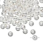 100 OR 1000 Silver Plated Brass Corrugated Round Beads   * 5mm