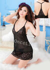 Sexy Lingerie Sheer Lace Black Babydoll YY Chemise Gowns Dress Deep V + String