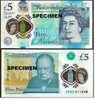 Real bank of england £5 five pound banknote Plastic 2016 UNC Number match