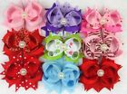 "9 x wholesale 4"" Girls hair clips Boutique Bows Ribbon ALIGATOR CLIPs Hairclips"